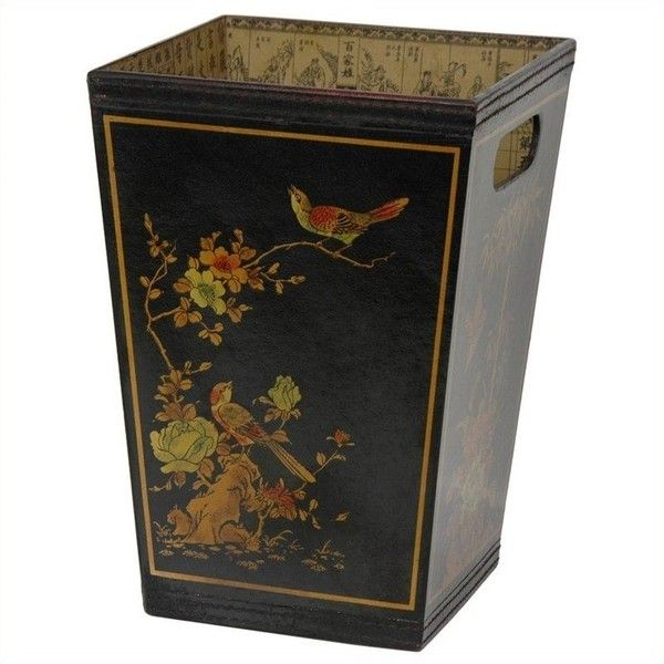 Oriental Furniture Trash Bin (420 HRK) ❤ liked on Polyvore featuring home, home decor, small item storage, home accessories, asian inspired home decor, asian home decor, oriental home decor and asian basket