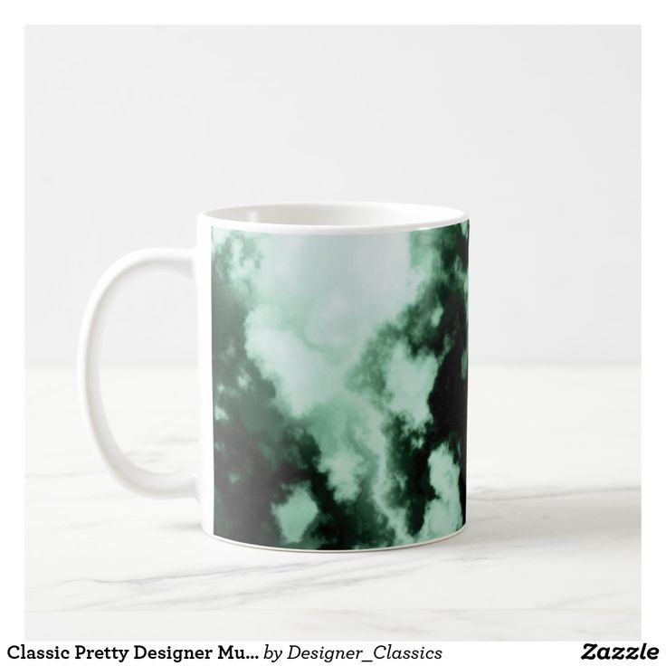 Classic Pretty Designer Mug Clouds Green