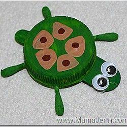 Bottle-Cap Turtle--by mama-jenn.blogspot.com--found on freekidscrafts.com