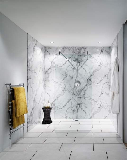 Superior Nuance Calacatta Marble Waterproof Shower Wall Boards By BushBoard For Sale  Online With UK Delivery.
