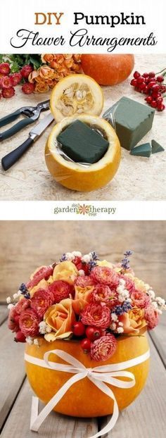 How to make pretty pumpkin floral arrangements. Perfect for fall weddings or Thanksgiving!