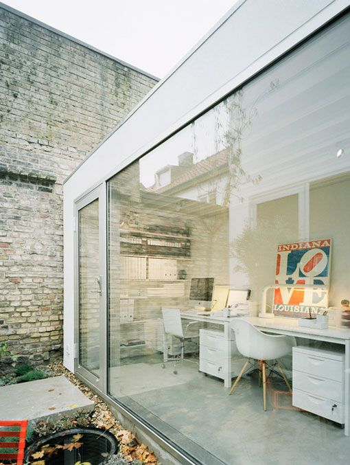 Windows and light are a must for me! Great essential workspace