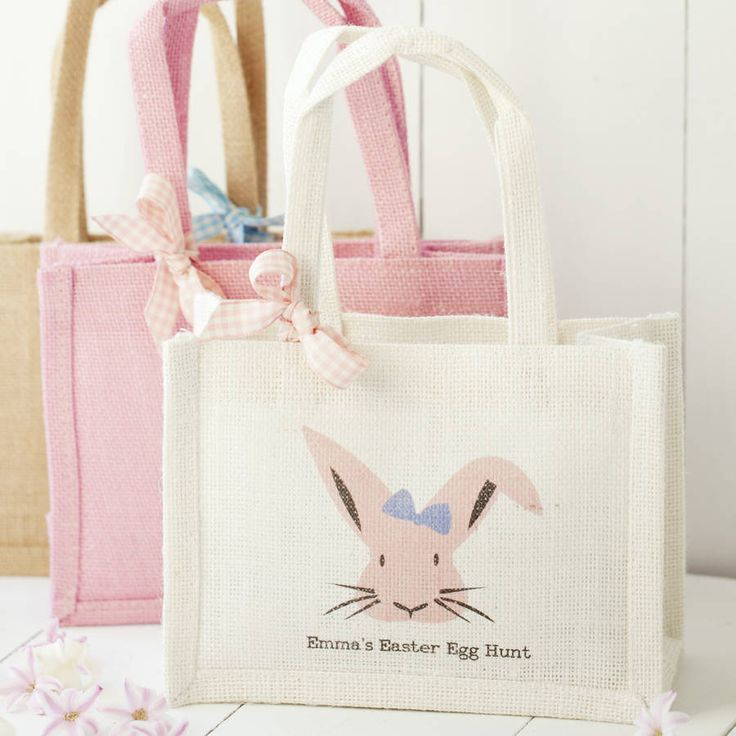 A cute and necessary accessory for the best egg hunt, personalised tough jute bags featuring a mischievous Easter bunny and your own text.