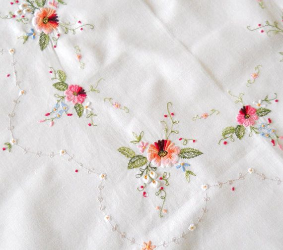 embroidered vintage tablecloth, multicolor, vintage white tablecloth, floral tablecloth, shabby chic, cottage chic