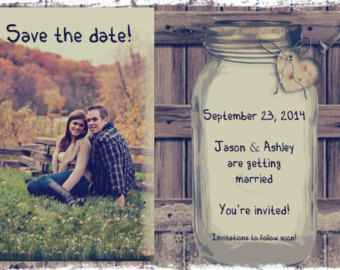 Rustic save the date, wood and canning jar on the card, printable card, digital file, country wedding, save the date is 4 by 6