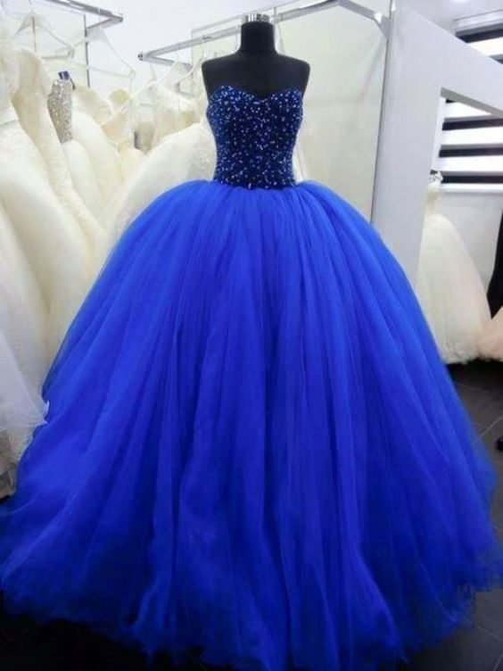 Dark Blue Bal Gown Evening Dress,Tulle Crystal and Beading Prom Dresses by fancygirldress, $235.00 USD