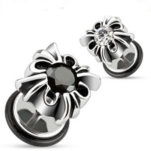 #ZayaBodyJewelry - Pair of Fake Cheater Plugs for Ears Steel Gothic Black or Clear Gem 0g Look Gauges , $8.99 (http://www.zayabodyjewelry.com/pair-of-fake-cheater-plugs-for-ears-steel-gothic-black-or-clear-gem-0g-look-gauges/)