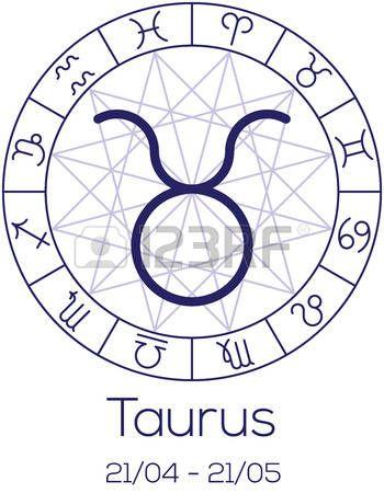 Signo del zodiaco - Tauro. Símbolo astrológico en la rueda con el fondo poligonal. Carta de la astrología en el color azul profundo con título y fecha de nacimiento. Ilustración del vector.