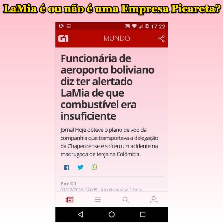 LaMia é ou não é uma Empresa Picareta? [G1] http://g1.globo.com/mundo/noticia/funcionaria-de-aeroporto-boliviano-diz-ter-alertado-lamia-de-que-combustivel-era-insuficiente.ghtml ②⓪①⑥ ①② ⓪①