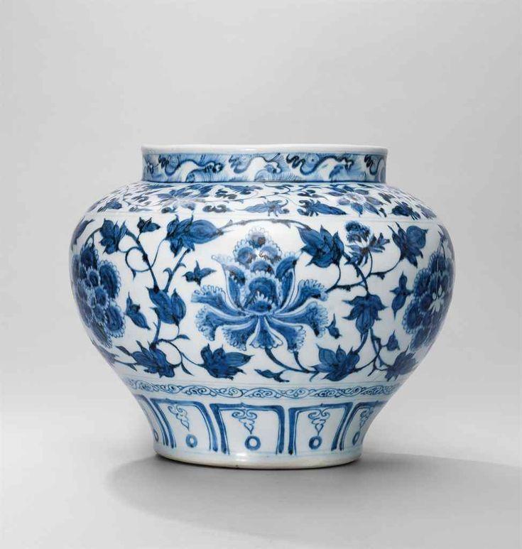 A very rare blue and white 'peony' jar, Yuan dynasty (1279-1368)