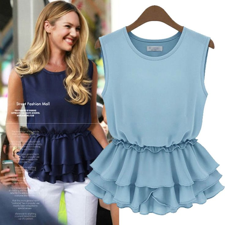 Find More Blouses & Shirts Information about Europe Style 2014 New Summer Streetwear Sleeveless Chiffon Shirts Vest Ruffles Women Solid Tops Chic Blouse White Black Blue,High Quality Blouses & Shirts from Tina Fashion Woman Clothing Store on Aliexpress.com