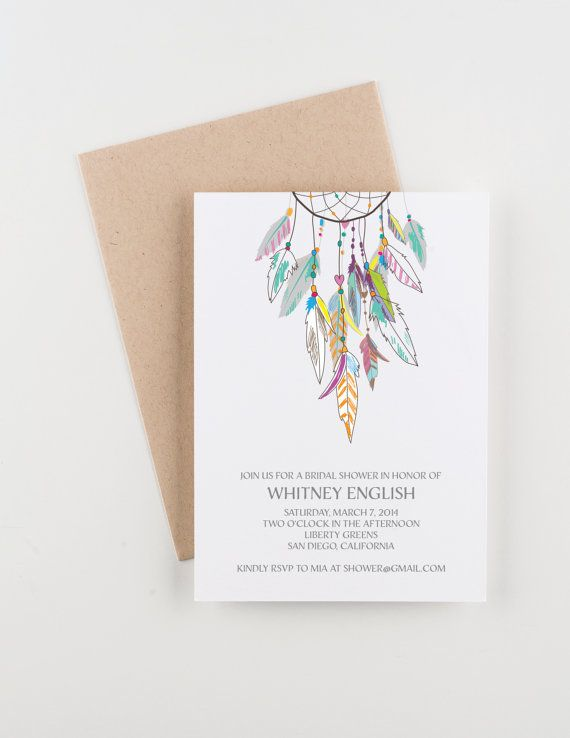 Boho Dreamcatcher Bridal Shower. Save The Date. Wedding Invitation. Wedding Announcement.  by Seahorse Bend Press, www.seahorsebendpress.com