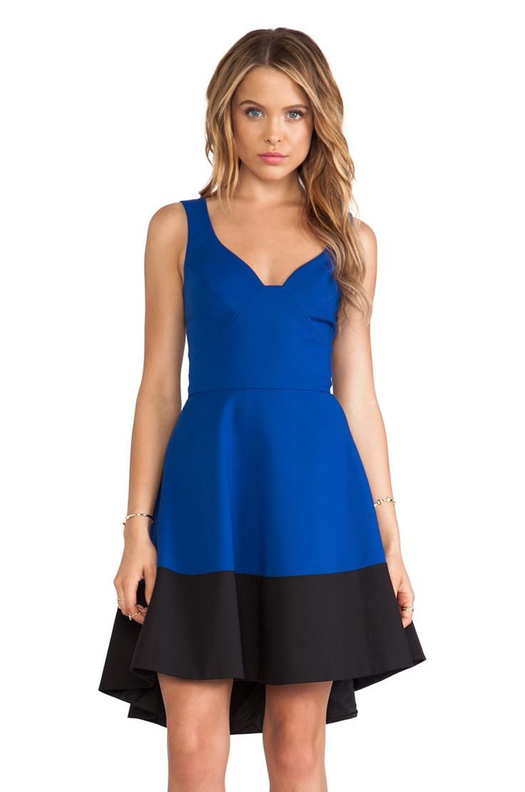 Black Halo Reese Dress In Dragonfly Blue Black Amo Os