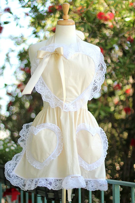 Inspired by Marie Antoinette. Let Them Eat Cake Heart Apron with Lace by Mademoiselle Mermaid, $50.00