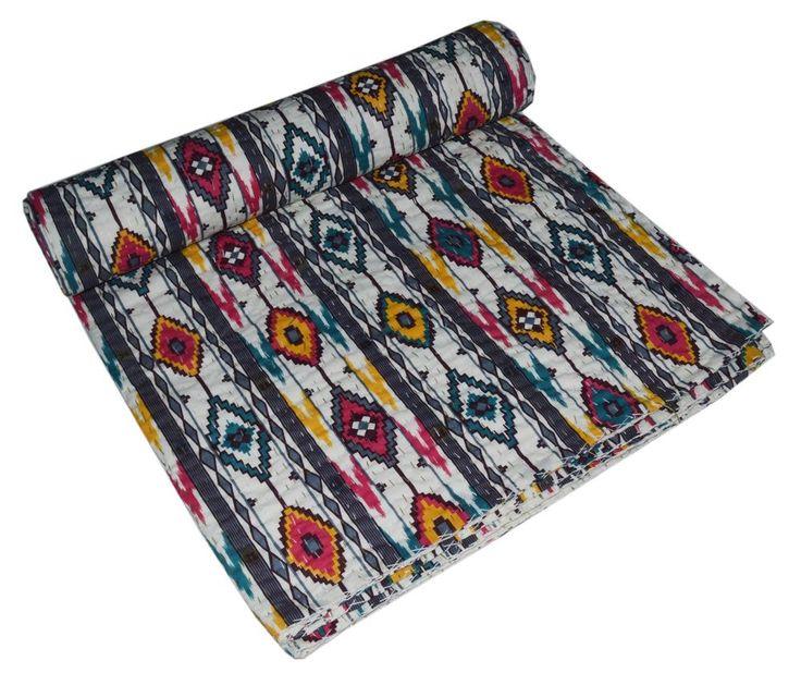 Indian Handmade Quilt Vintage Kantha Bedspread Throw Cotton Blanket Queen Gudari #Handmade #Asian