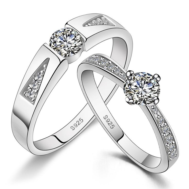 His Hers Matching Couple Sterling Silver Rings CZ Wedding Band Set