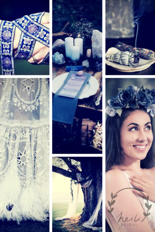Witchy wedding aesthetics with crystals, handfasting, moon decorated wedding dress and blue flower crown for bride from http://www.etsy.com/shop/HeiliBridal/