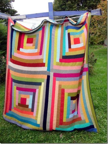 Knit log cabin blanket – knitting maching stash bu…