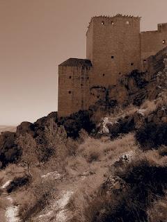 El castillo que aparece en la foto que ilustra esta entrada no es el Castillo de las Arenas o Castillo de Sant Ferrán de Berga - Barcelona, sino el Castillo de Mula - Murcia, ya que de la primera fortaleza, la que aparece en la novela, apenas quedan unos restos arqueológicos y en archivos.