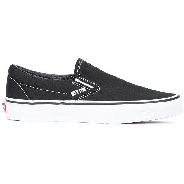 Vans classic sneakers ($85) ❤ liked on Polyvore featuring shoes, sneakers, black, vans trainers, vans footwear, vans shoes, black shoes and black trainers