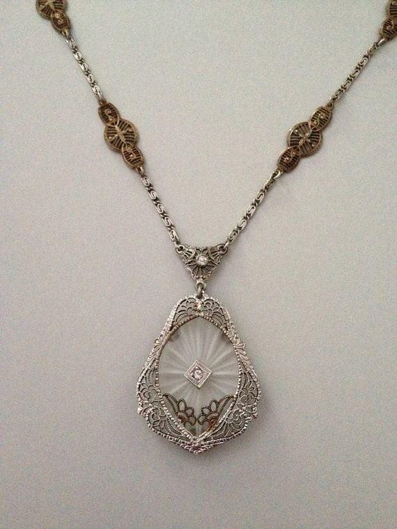 Art Deco Camphor Glass Necklace on Etsy, $65.00