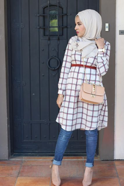 checked shirt dress hijab style- Hijab looks by Sincerely Maryam http://www.justtrendygirls.com/hijab-looks-by-sincerely-maryam/
