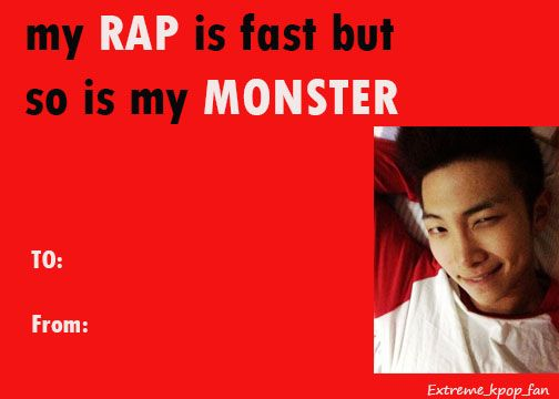 Bts Army Extreme Kpop Fan Rap Monster Valentine Card Bts