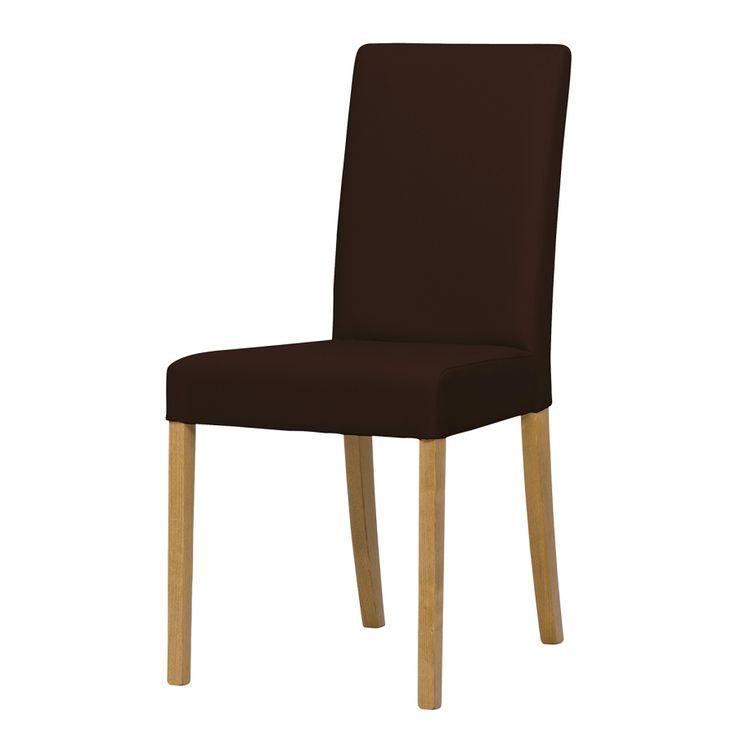 Upholstered chair Corinna (Set of 2) - Oak - leatherette Sani Dark Brown