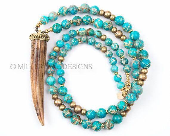 Halskette Horn | Türkis Halskette | Boho Kette | Lange Türkis Halskette | Tusk Halskette | Türkis Perlen | Türkis Horn Halskette