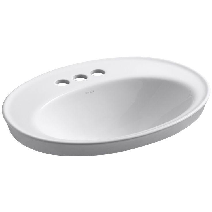 KOHLER Serif White Drop-in Oval Bathroom Sink with Overflow