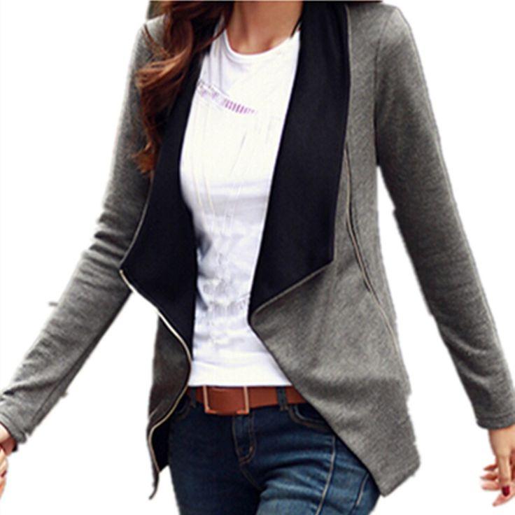Plus la Taille Femmes Slim Blazer Manteau Veste 2017 Printemps Automne Mode De Base À Manches Longues Entaillé Glissière Latérale Costumes Manteau Outwear