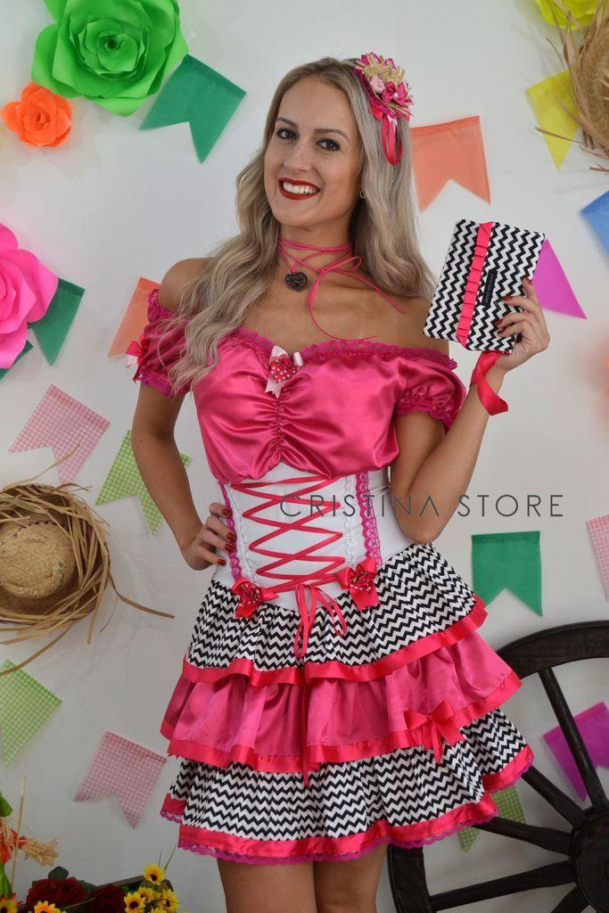 Vestido Chevron/Pink - Caipira Chic - loja online