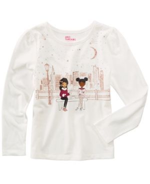 Epic Threads Mix and Match Long-Sleeve Bench Friends T-Shirt, Little Girls (4-6X), Created for Macy's - White