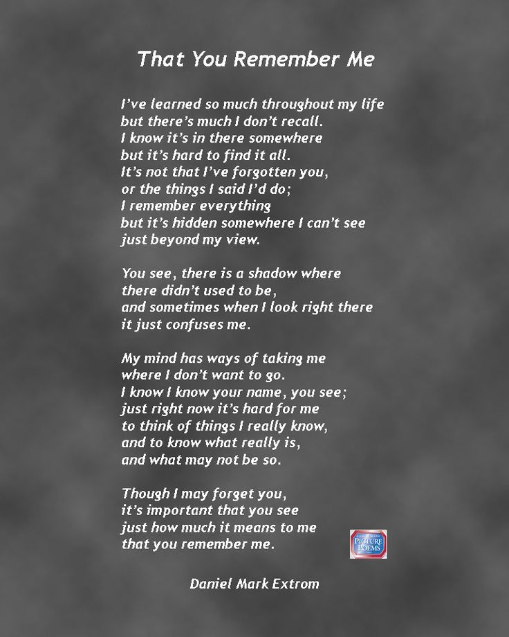 That You Remember Me: A Downloadable Poem About Alzheimer ...