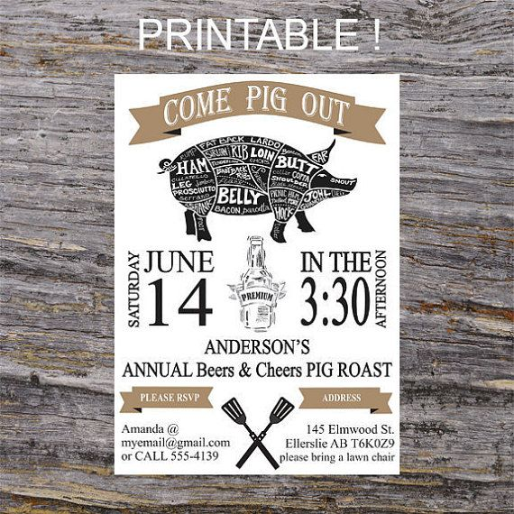 Cheers and Beers Invitation Pig Roast BBQ Invite by RavenzDen