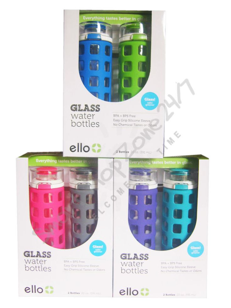 2 pack Ello Glass Water Drink Bottle with Flip Lid BPA- free 591ml NEW