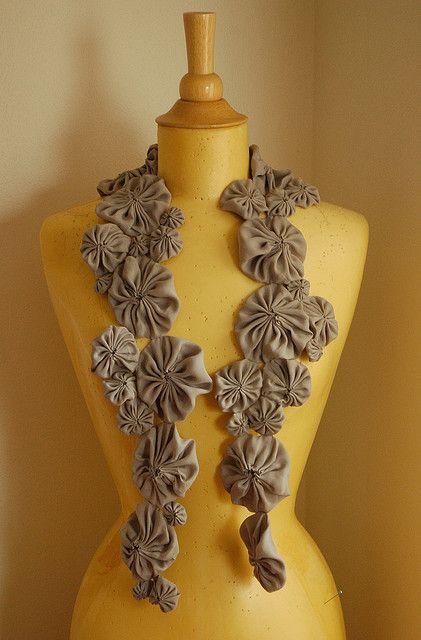 washable silk wip -- yo yo scarf   Flickr - Photo Sharing!