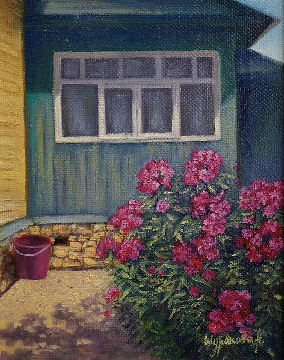 #Flowers, #flower, #phlox, #bush, #path, #shadow, #countryside, #summer, #painting, #oilpainting, #artist, #Russianartist, #Russianart, #Russian, #annashurakova