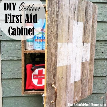 Build this reclaimed wood outdoor storage cabinet to keep your bug spray and first aid supplies handy.