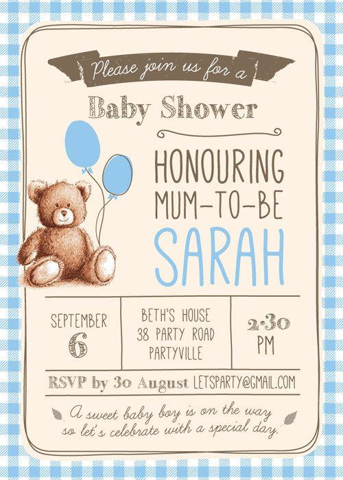 Bebé ducha invitación niño / bebé invitación de por PixelpopShop
