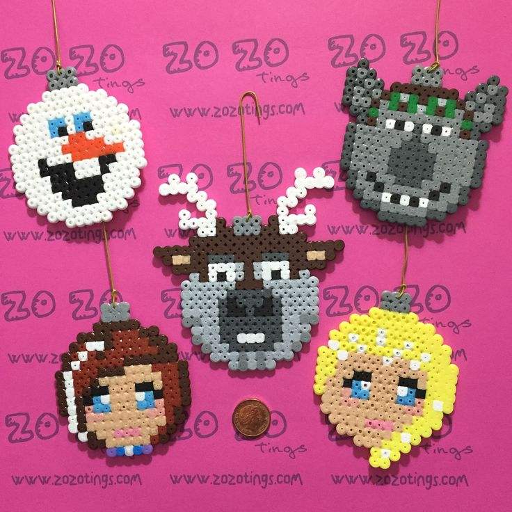 Frozen Christmas bauble set Hama perler beads by Zo Zo Tings