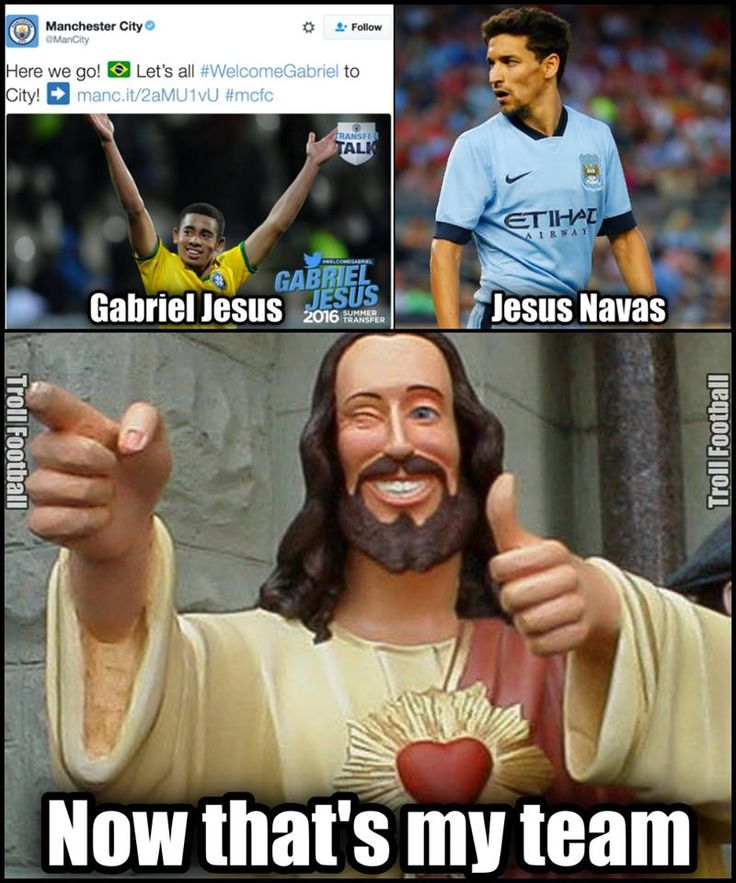 Jesus Christ new fav team - Manchester City | Funny ...