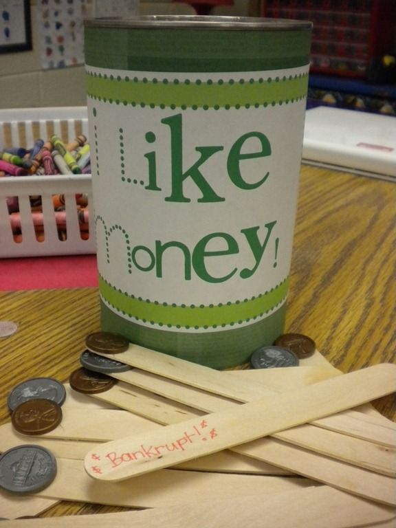 Great idea! Your pass the bucket around and they have to tell the coin they have, if they don't know it, they have to put it back in. If someone draws the bankrupt stick, all the sticks go back in the cup.