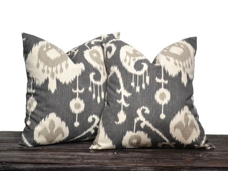 """18"""" Charcoal Grey Ikat Pillow Set - Set of 18 x 18 Inch Neutral Pillow Covers - Charcoal Grey, Cream and Light Grey - TWO PILLOW COVERS by DesignerPillowShop on Etsy https://www.etsy.com/listing/162703577/18-charcoal-grey-ikat-pillow-set-set-of"""