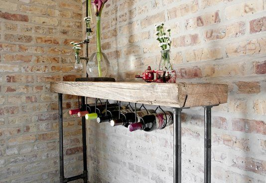 Custom Made Modern Rustic Wine Bar Or Console Table