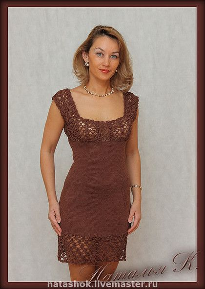 В стиле Шанель - платье,вязаное платье,классика,шоколад,100% мерсеризованный хлопок