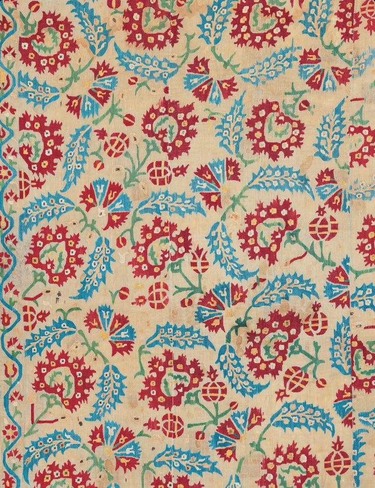 """Ottoman embroidered quilt, 17'th century. Silk embroidery on a linen ground. 4'5"""" by 6'11"""", The repeat shows peonies bracketed by saz leaves with carnations and pomegranates. Hali Spring 2013. SHM, Istanbul."""