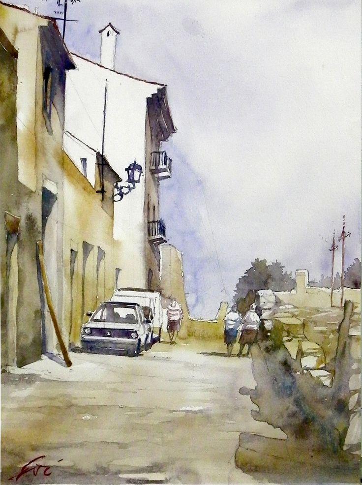 Dusty street, based on D.Curtis painting. Watercolour / Piaskowa uliczka, na podstawie obrazu D.Curtisa. Akwarela pokazowa wykonana na zajęciach w szkole rysunku DOMIN Poznan.