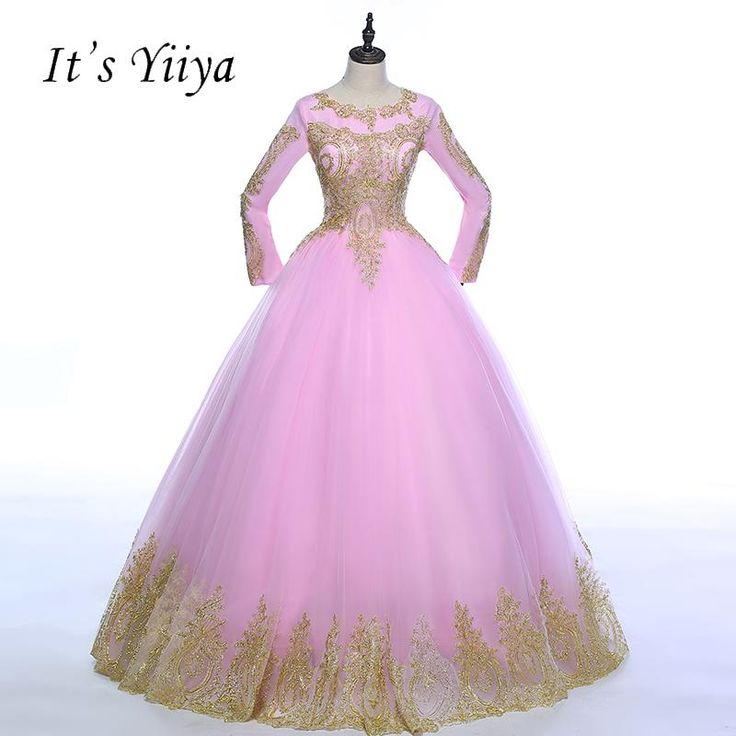 It's YiiYa 2018 Pink with Golden Lace Full Sleeves O-neck Muslim Wedding Dresses Floor Length High Grade Bride Ball Gowns Z004  #beachweddingdresses #mermaidbridalgowns #vintageweddingdresses #mermaidweddinggowns #bridalgowns #weddingdresses