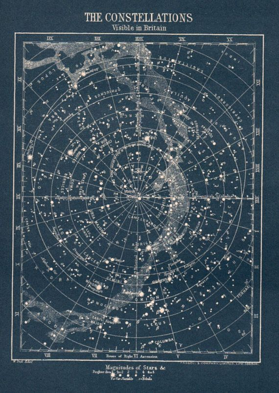 antique Constellation star map circa 1900s vintage map of stars visible in Britain Astronomy star chart blue white